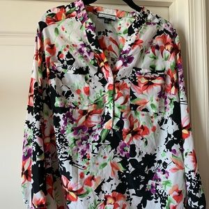 Tops - Floral Print Tunic Blouse